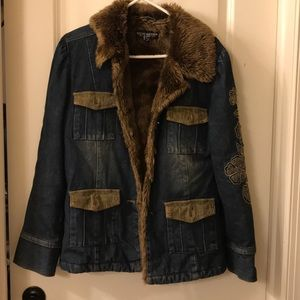 Fur collar jean jacket